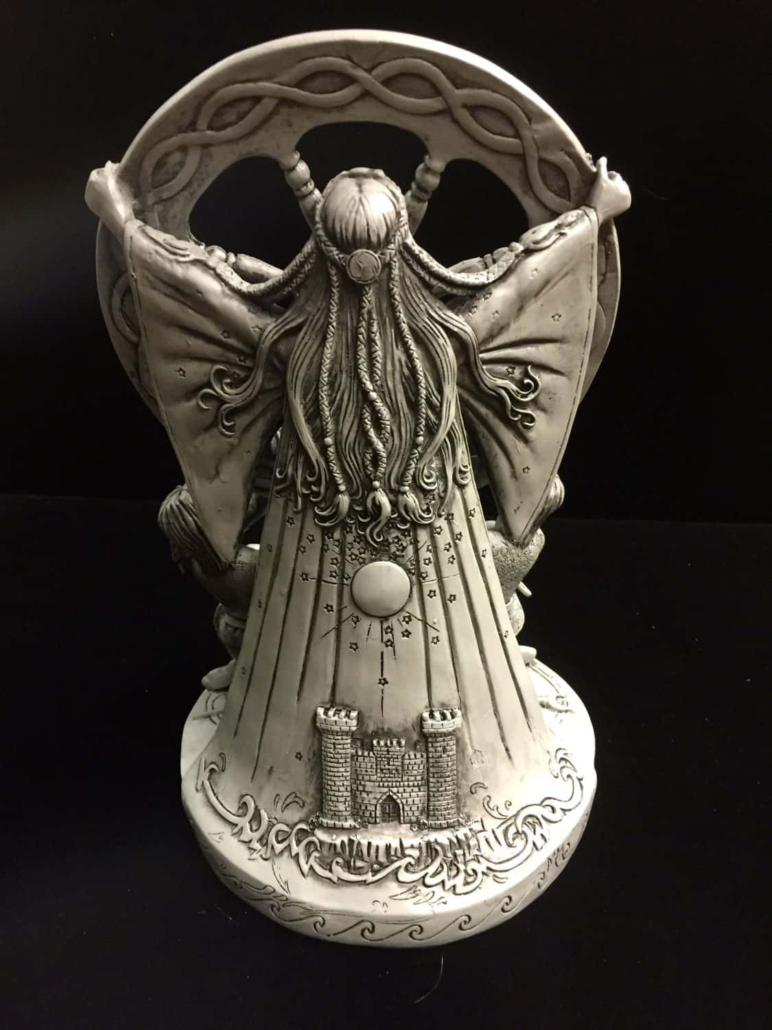 Arianrhod Stone Finish Resin Statue by Maxine Miller © Maxine Miller - Rear