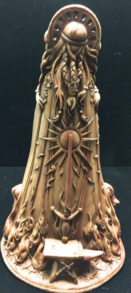 Celtic Goddess Brigid Statue Wood Finish Resin by Maxine Miller ©Maxine Miller