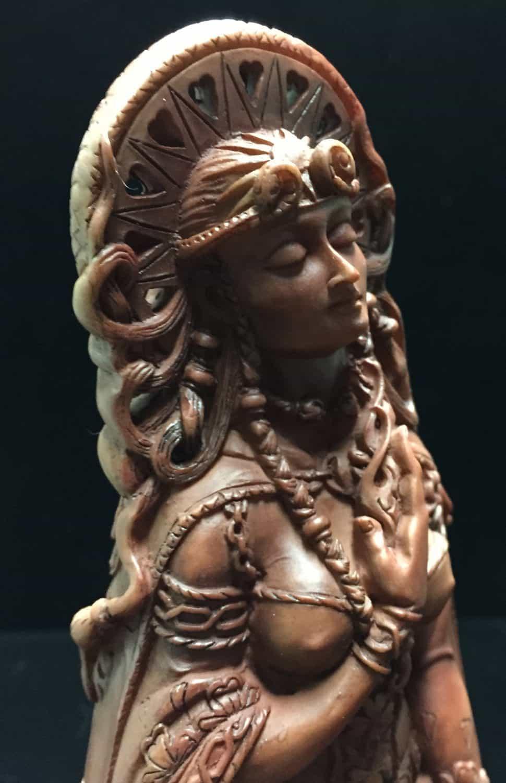 Celtic Goddess Brigid Statue Wood Finish Resin by Maxine Miller ©Maxine Miller