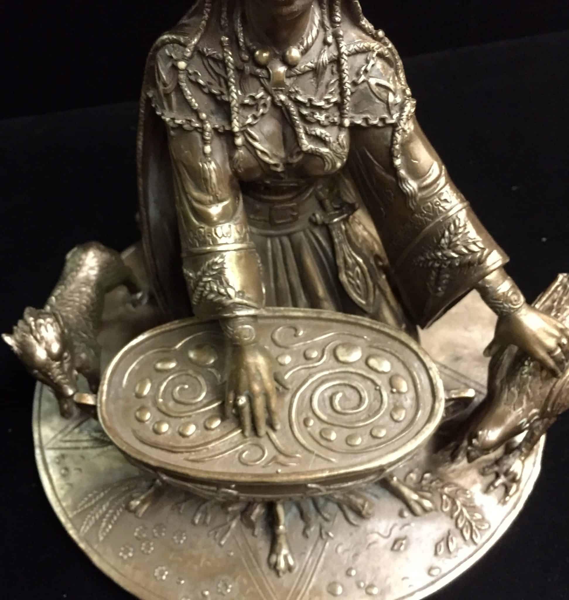 Celtic Crone Goddess Cerridwen Cold Cast Bronze Statue by Maxine Miller ©Maxine Miller - Front View2