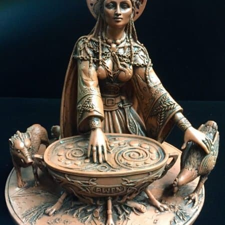 Celtic Crone Goddess Cerridwen Terracotta Resin Statue by Maxine Miller ©Maxine Miller - Front View
