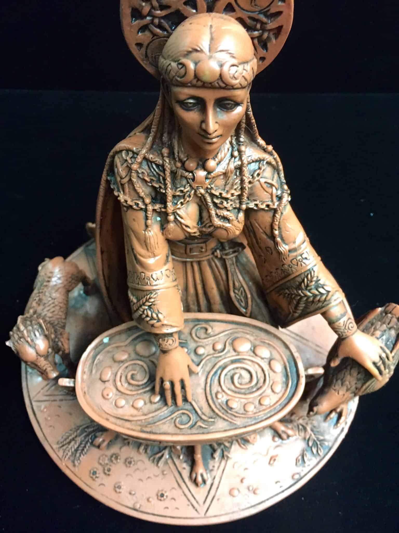 Celtic Crone Goddess Cerridwen Terracotta Resin Statue by Maxine Miller ©Maxine Miller - Front View 2