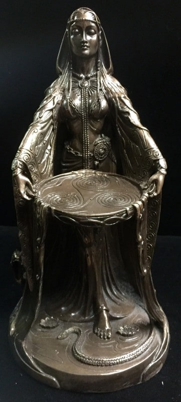 Celtic Goddess Danu Cold Cast Bronze Resin Statue by Maxine Miller ©Maxine Miller - Front Angle