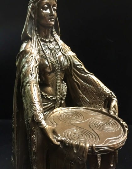 Celtic Goddess Danu Cold Cast Bronze Resin Statue by Maxine Miller ©Maxine Miller - Front Angle 2