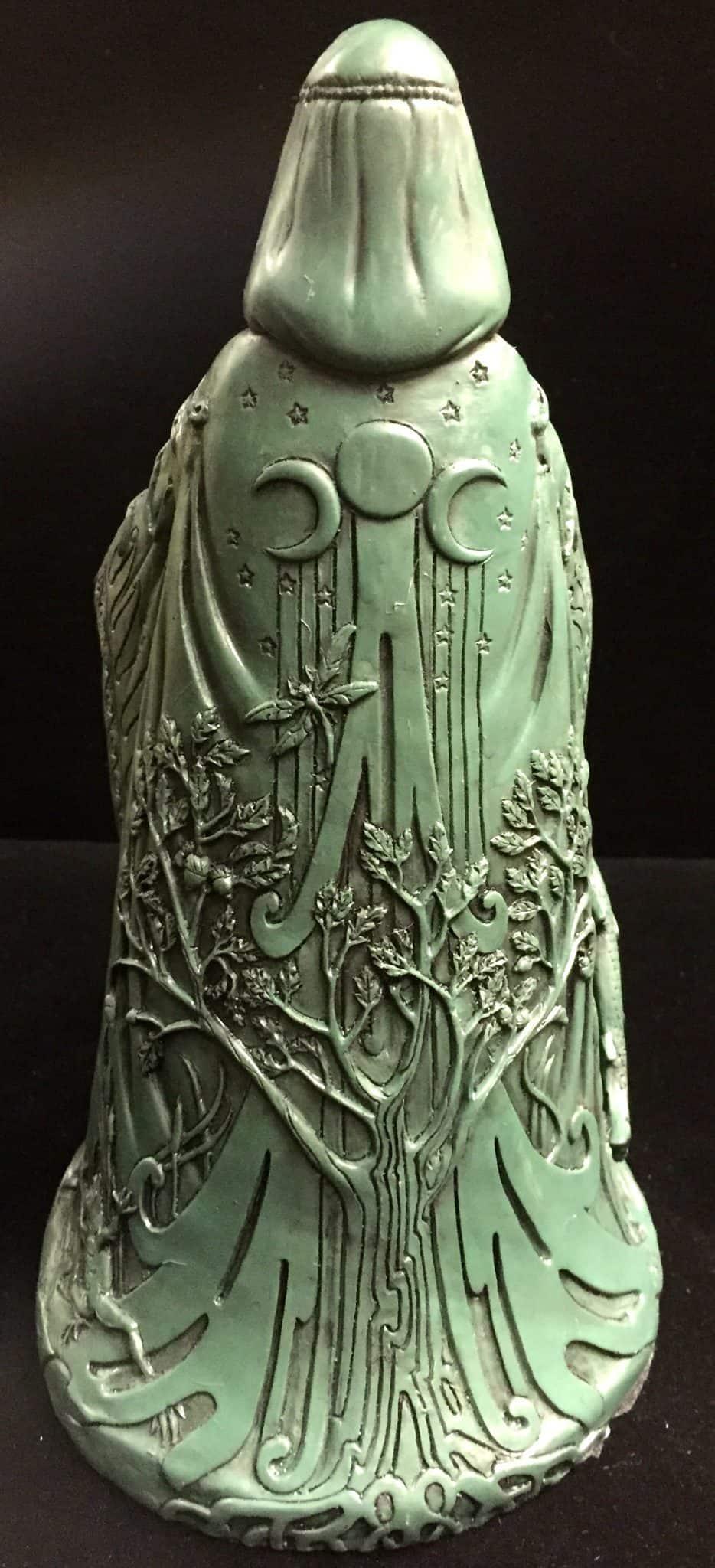 Celtic Goddess Danu Green Bronze Resin Statue by Maxine Miller ©Maxine Miller - Rear View