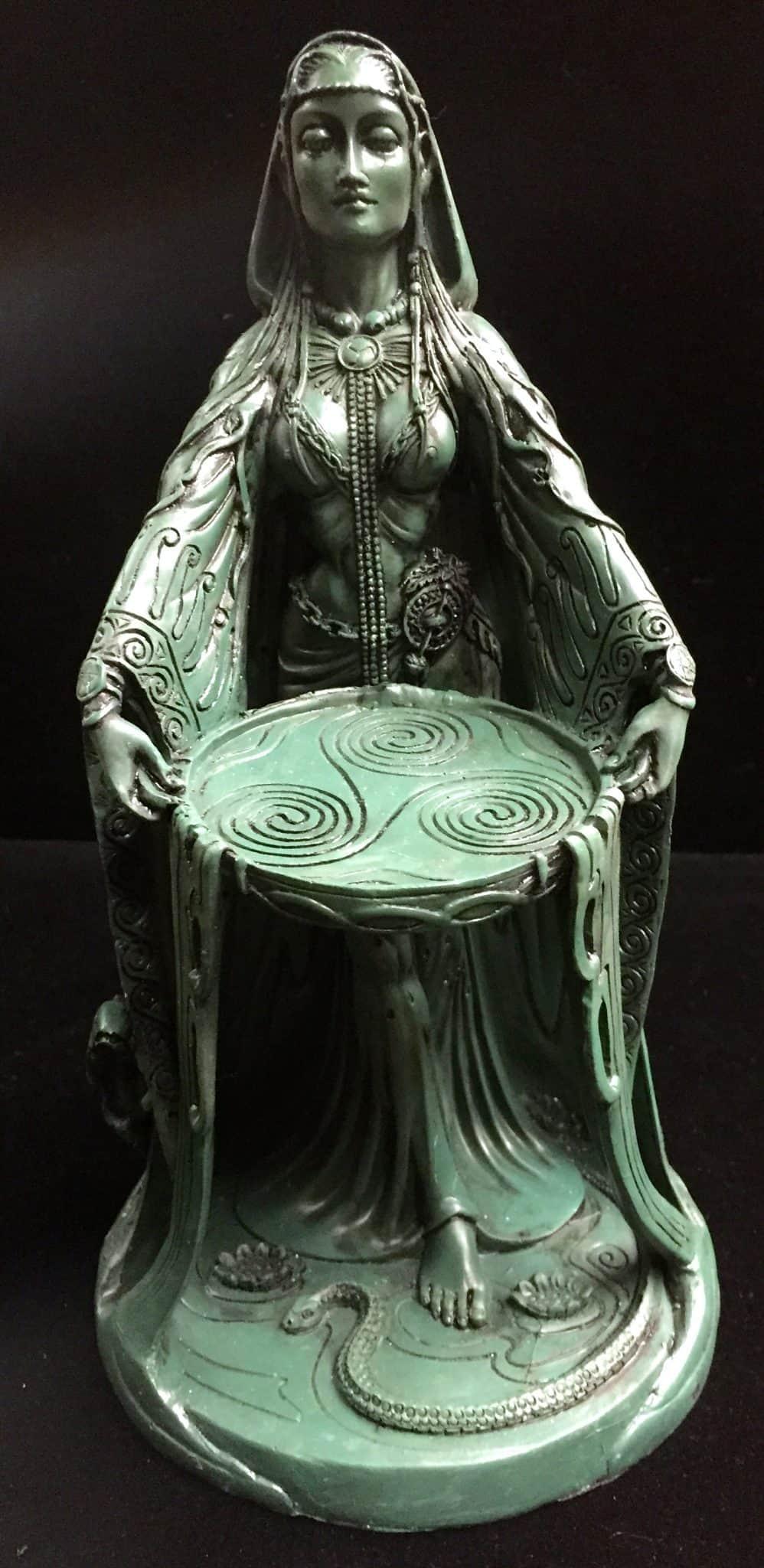 Celtic Goddess Danu Green Bronze Resin Statue by Maxine Miller ©Maxine Miller - Front