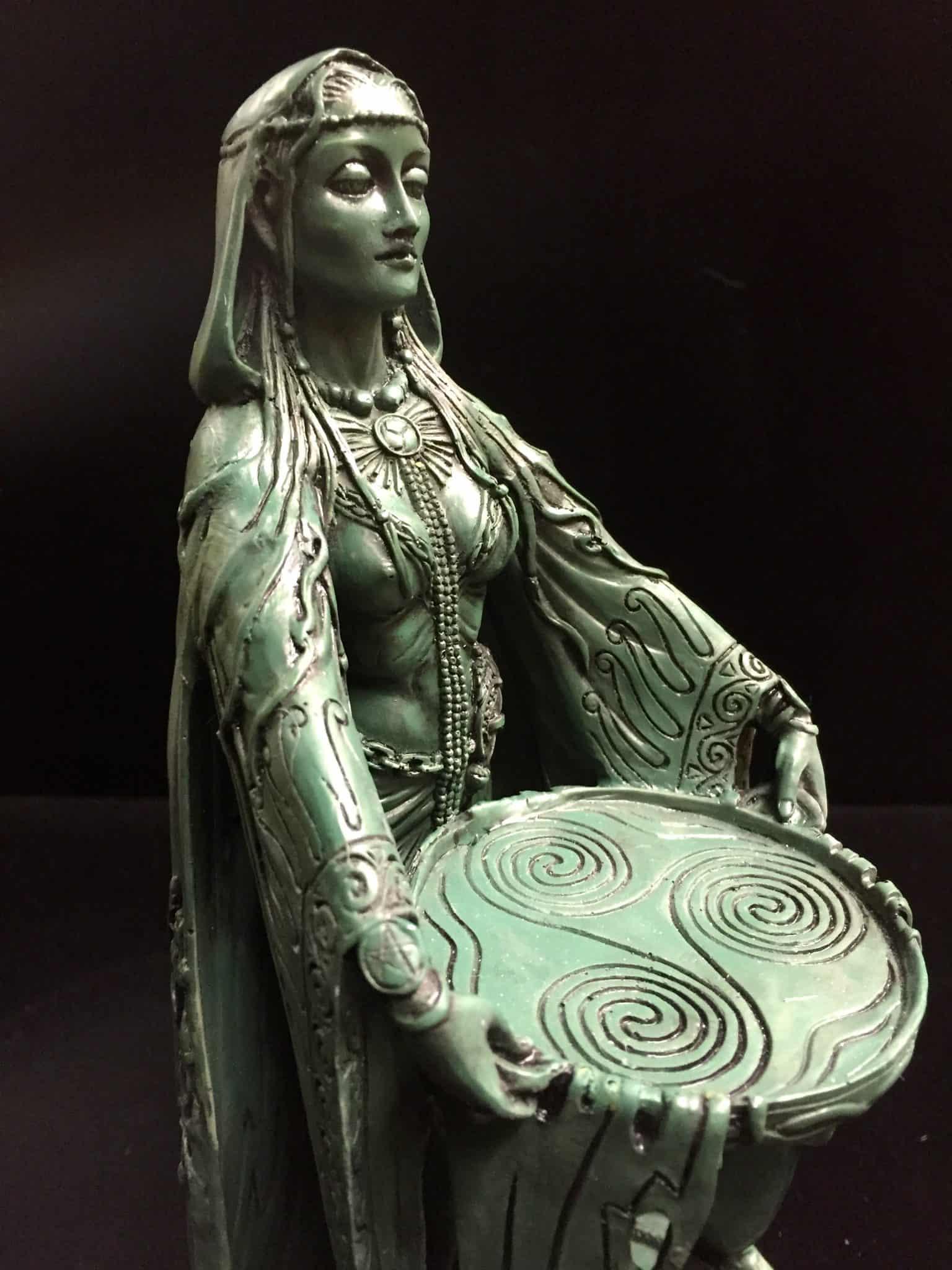 Celtic Goddess Danu Green Bronze Resin Statue by Maxine Miller ©Maxine Miller - Front Angle