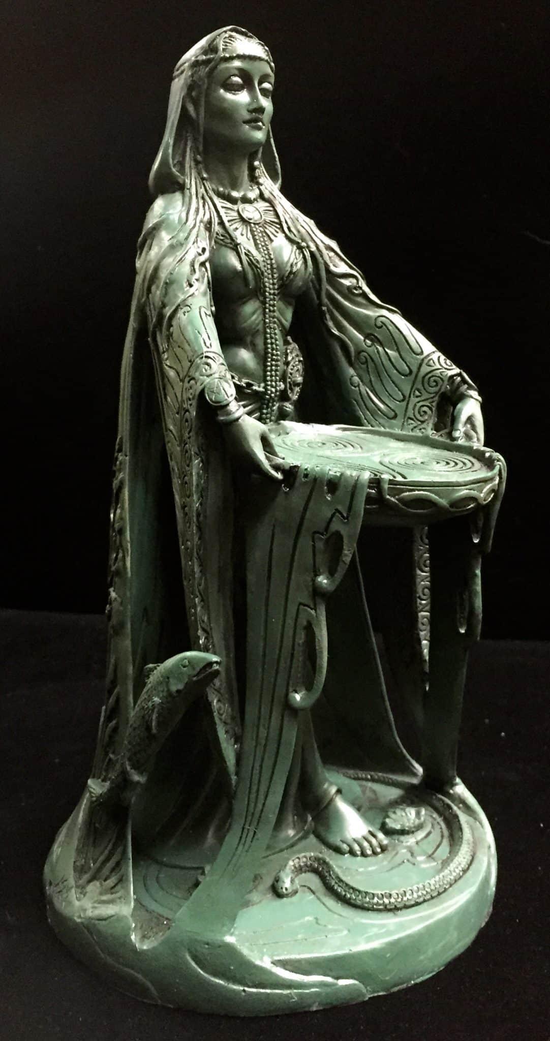 Celtic Goddess Danu Green Bronze Resin Statue by Maxine Miller ©Maxine Miller - Front Angle2