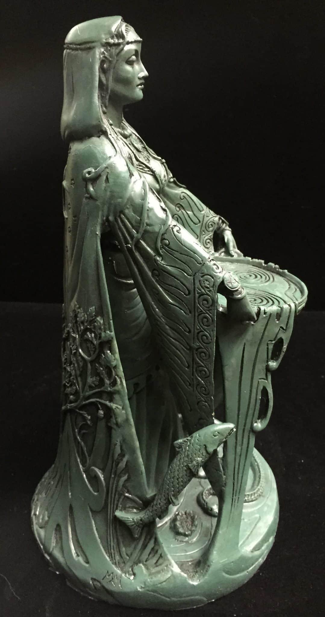 Celtic Goddess Danu Green Bronze Resin Statue by Maxine Miller ©Maxine Miller - Side View