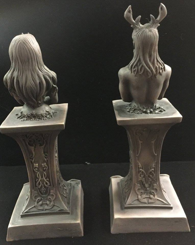 REAR VIEW: HORNED GOD & MOON GODDESS HERM ALTAR STATUE SET STONE FINISH RESIN by Maxine Miller ©celticjackalope.com