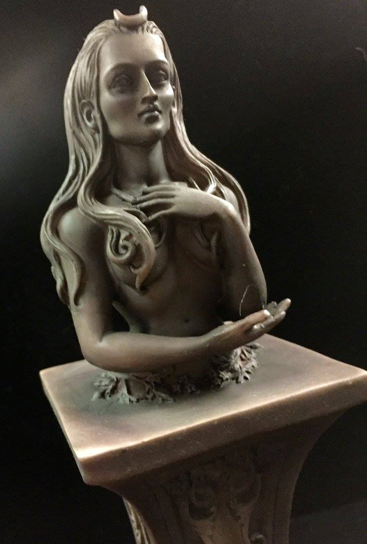 MOON GODDESS HERM ALTAR STATUE STONE FINISH RESIN by Maxine Miller ©celticjackalope.com