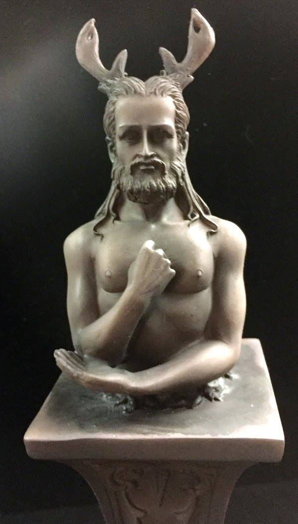 HORNED GOD HERM ALTAR STATUE STONE FINISH RESIN by Maxine Miller ©celticjackalope.com