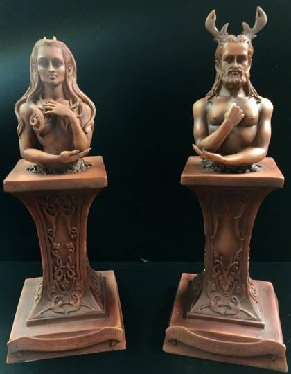 HORNED GOD & MOON GODDESS HERM ALTAR STATUE SET WOOD FINISH RESIN by Maxine Miller ©celticjackalope.com
