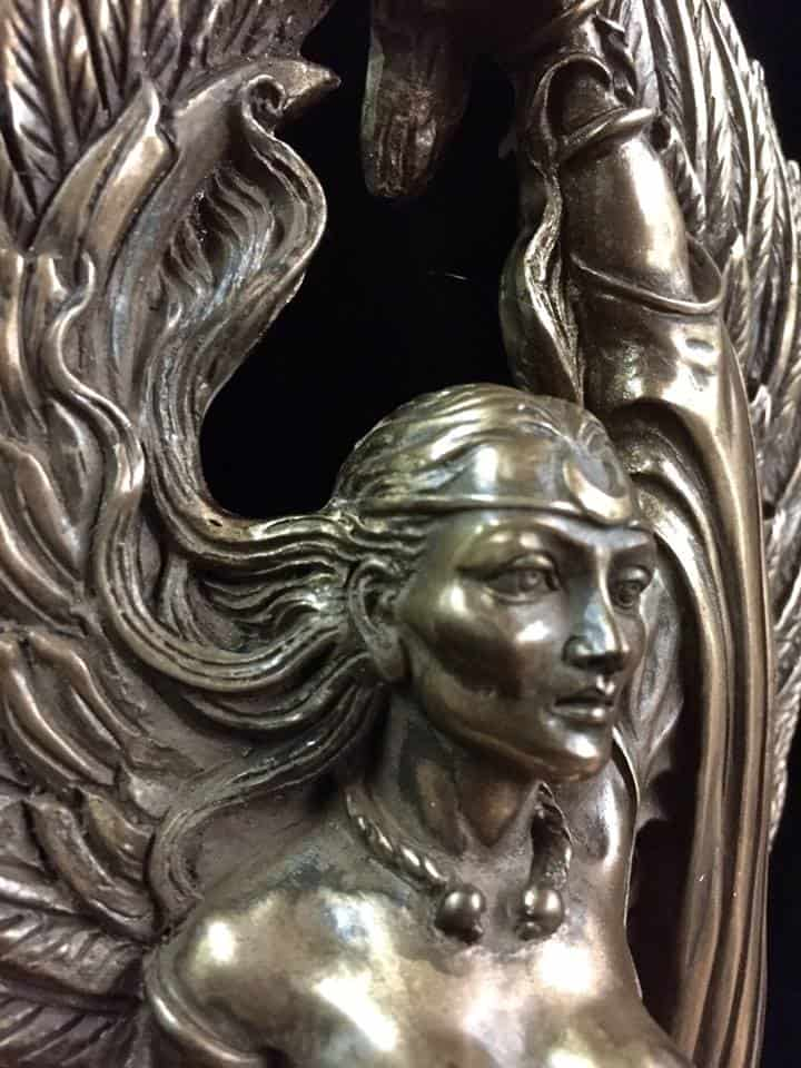 Celtic War Goddess Morrigan Statue Cold Cast Bronze by Maxine Miller ©celticjackalope.com 2