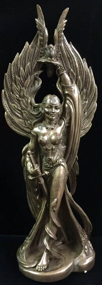 Celtic War Goddess Morrigan Statue Cold Cast Bronze by Maxine Miller ©celticjackalope.com 1