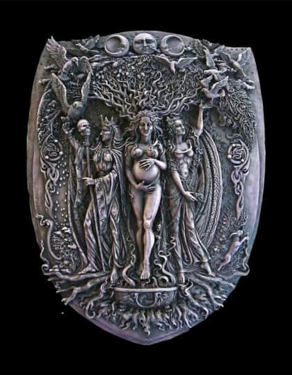 Celtic Triple Goddess Maiden Mother and Crone Wall Plaque Stone Finish by Maxine Miller ©celticjackalope.com