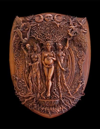 Celtic Triple Goddess Maiden Mother and Crone Wall Plaque Wood Finish by Maxine Miller ©celticjackalope.com