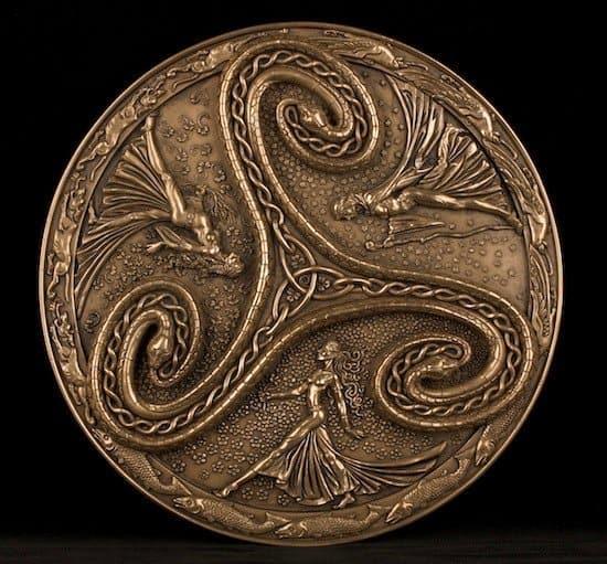 Triple Goddess Triskelle Wall Plaque Cold Cast Bronze Celtic Jackalope