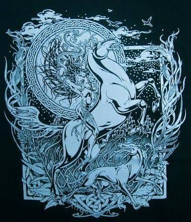 Celtic Horse Goddess Epona etain macha rhiannaon t-shirt by Maxine Miller