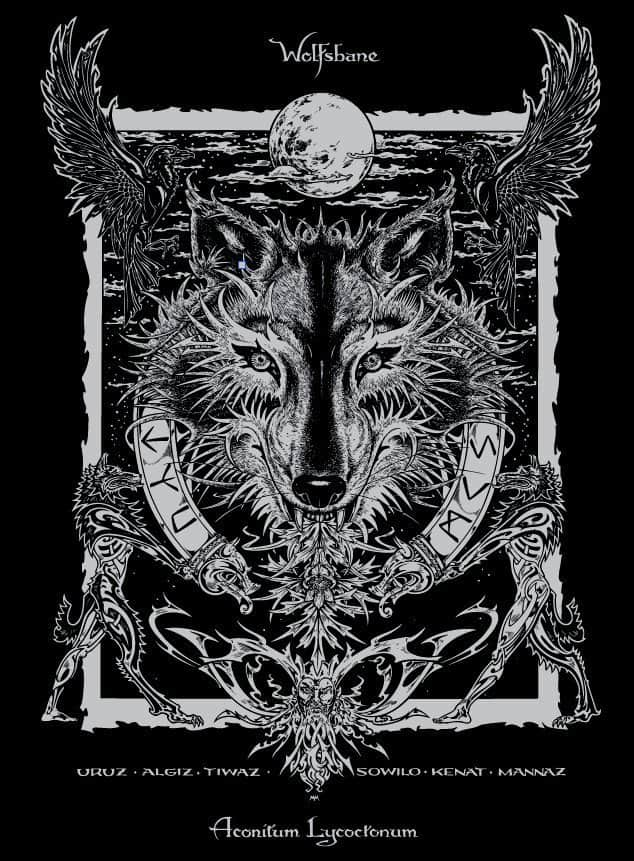 Wolfsbane Mens Short Sleeve Norse Wolf T Shirt Magical