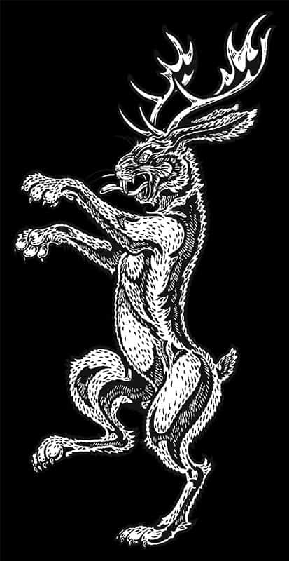 CelticJackalope.com Men's Long Sleeve Shirt Sleeve Print - Jackalope Rampant