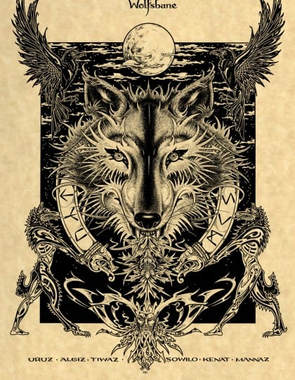 Norse Wolfsbane Art Printon Parchement by Maxine Miller