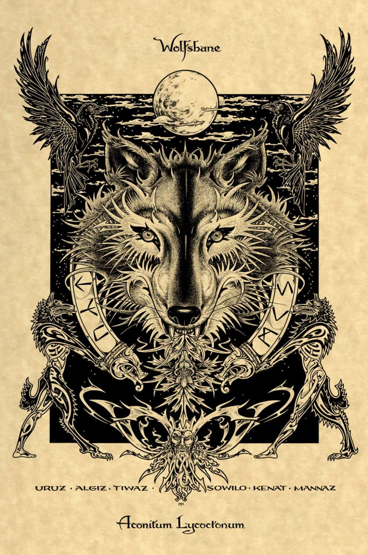 Norse Wolfsbane Art Printon Parchement by Maxine Miller