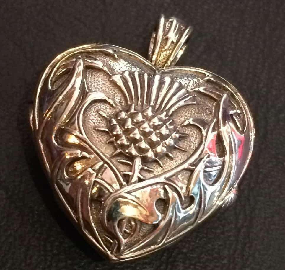 Heart and Scottish Thistle Locket - Sterling Silver by Maxine Miller