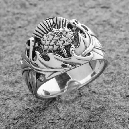 Celtic Jackalope's Wild Scottish Thistle Ring .925 Sterling Silver by Maxine Miller