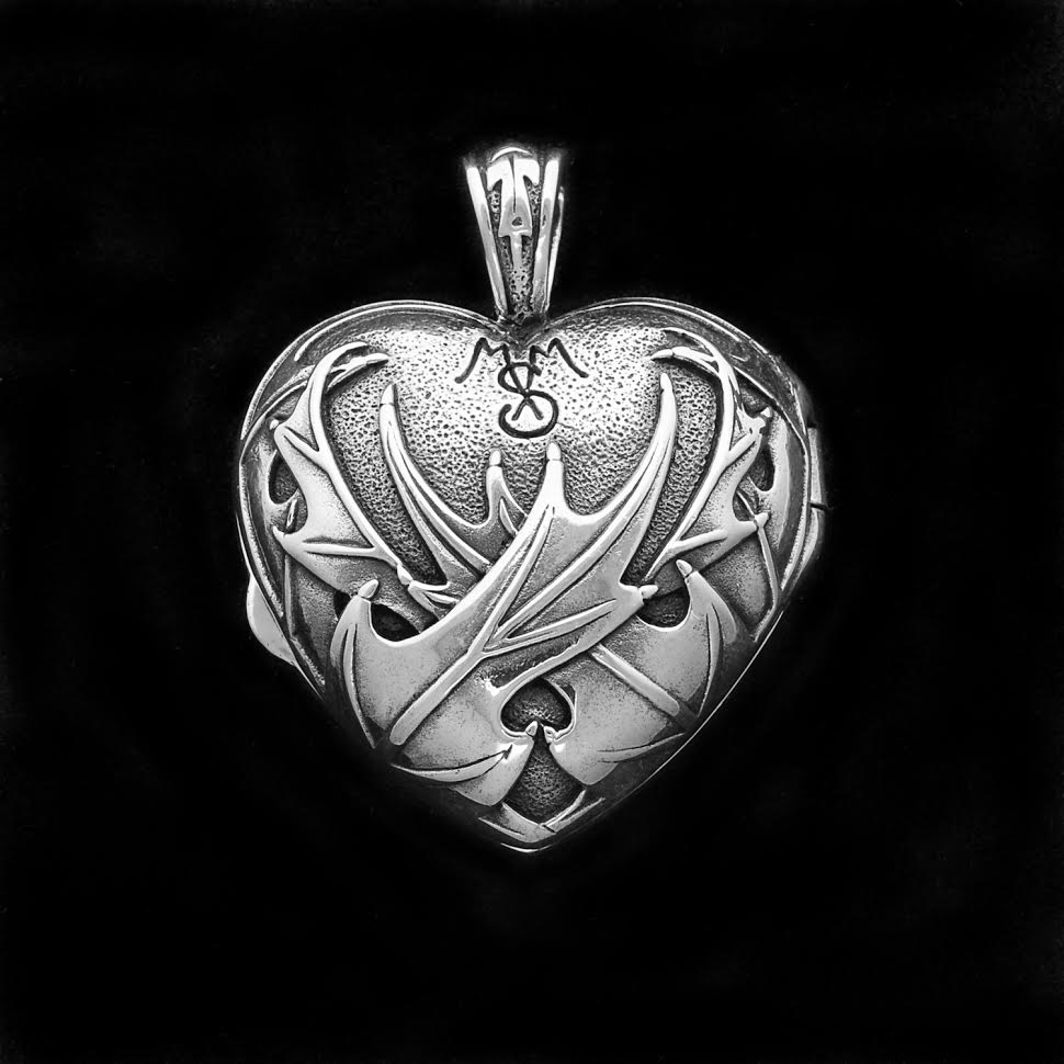 Celtic Jackalope's Scottish Heart and Thistle Locket 925 Sterling Silver By Maxine Miller REAR VIEW