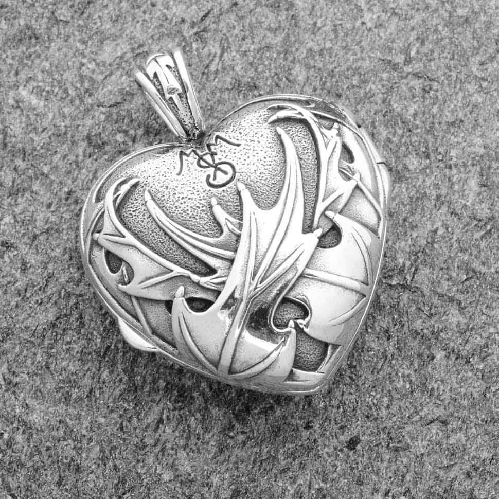 Pendant: Heart and Scottish Thistle Locket - 92.5 Sterling ...