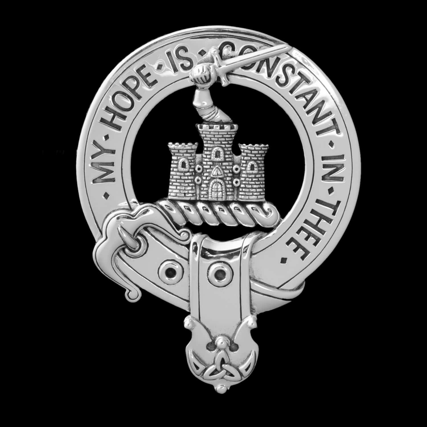 MacDonald of Clanranald Sterling Silver Crest Badge by Maxine Miller ©celticjackalope.com My Hope is Constant in Thee
