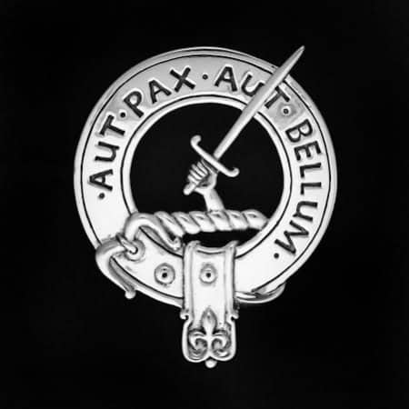 Celtic Jackalope's 925 Sterling Silver Clan Gunn Clansman's Crest Badge by Maxine Miller Aut Pax Aut Bellum