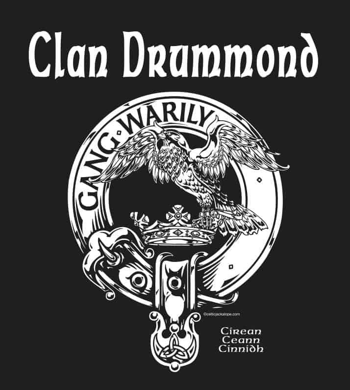 Clan Drummond Clansman's Crest Badge T-Shirt Pocket Art Artist: Maxine Miller ©celticjackalope.com