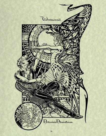 Worm Wood Atremesia Absinthium Magical Botanical Art Print by Maxine MillerArtist: Maxine Miller ©celticjackalope.com