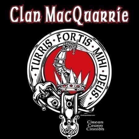 Clan MacQuarrie Clansman's Crest Badge T-Shirt by Maxine Miller ©celticJackalope.com