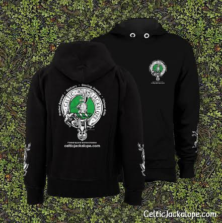 Celtic Jackalope Streetwear Pull Over Hoodie by Maxine Miller ©celticjackalope.com