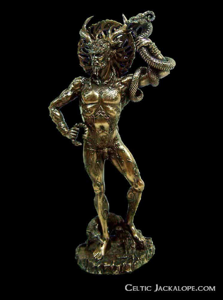 Celtic horned god cernunnos statue cold cast bronze celtic jackalope - God and goddess statues ...