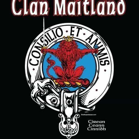 Clan Maitland Clansmans Crest Badge T-Shirt by Maxine Miller ©celticjackalope.com