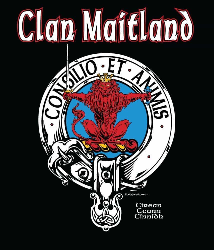 Clan Maitland Clansmans Crest Badge T-Shirt by Maxine Miller ©celticjackalope.com