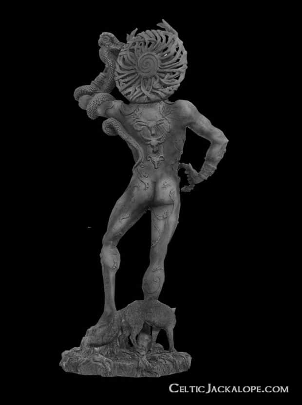 Celtic Horned God Cernunnos Statue Stone Finish Resin by Maxine Miller ©celticjackalope.com