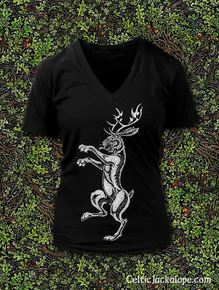 Celtic Jackalope Streetwear: Jackalope Rampant Ladies V-Neck Tee by Maxine Miller ©celticjackalope.com