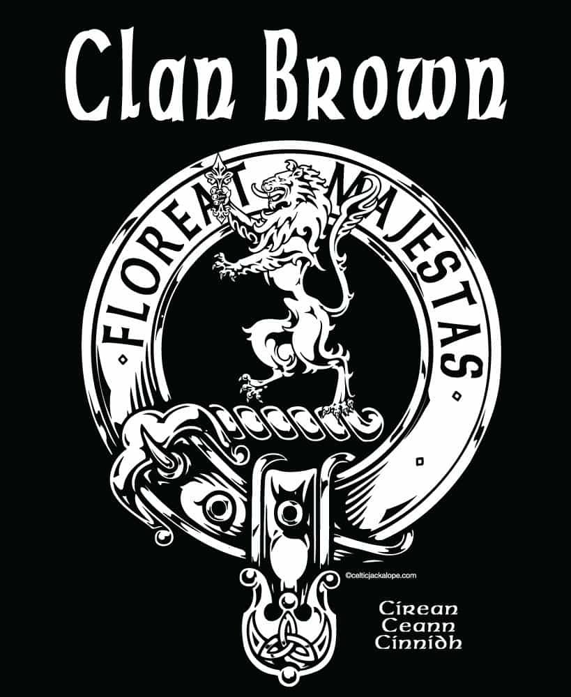 POCKET: Clan Broun/Brown Clansman's Crest Badge T-Shirt by Maxine Miller FLOREATMAJESTAS ©celticjackalope.com