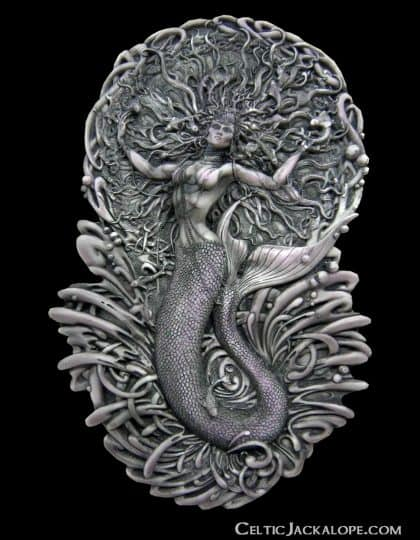 Celtic Mermaid Goddess Áine Wall Plaque Stone Finish Resin by Maxine Miller ©celticjackalope.com
