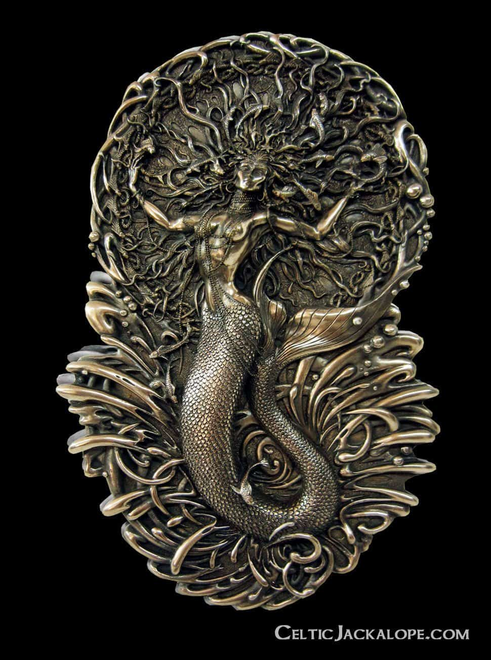 Celtic Mermaid Goddess Áine Wall Plaque Cold Cast Bronze by Maxine Miller ©celticjackalope.com