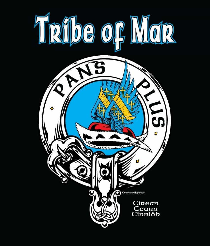 Tribe of Mar Clansmans Crest Badge T-Shirt by Maxine Miller ©celticjackalope.com PANS PLUS