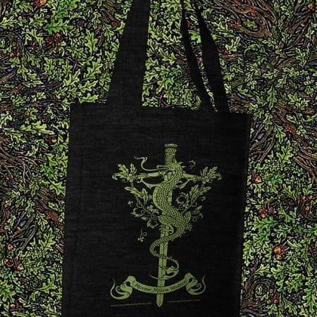 Dragon Sword and Thistle Reusable Cotton Canvas Tote Bag by Maxine Miller ©celticjackalope.com