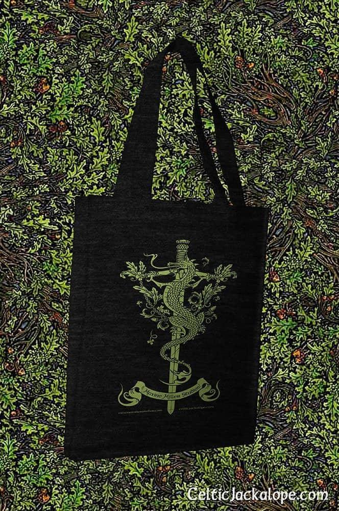 Dragon Sword and Thistle Reusable Cotton Canvas Tote Bag by Maxine Miller ©celticjackalope.com