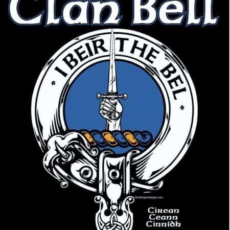 Clan Bell Clansman's Crest badge T-Shirt by Maxine Miller ©celticjackalope.com