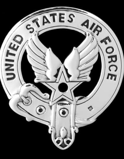 United States Air Force Sterling Silver Belted Bagpipers Badge - USAF ©celticjackalope.com